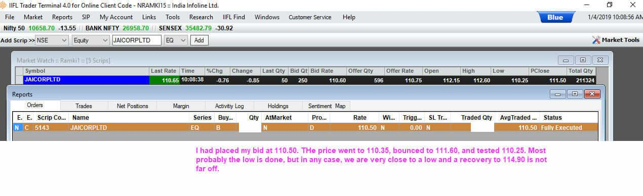 Entered my buy order in Jai Corp